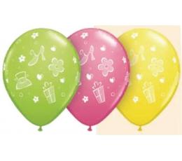 """Guminiai balionai """"Gėlytės ir bateliai"""" (25 vnt./28 cm)"""