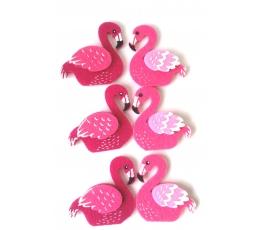 """Lipdukai-dekoracijos """"Flamingai"""" (6 vnt./4x5 cm)"""
