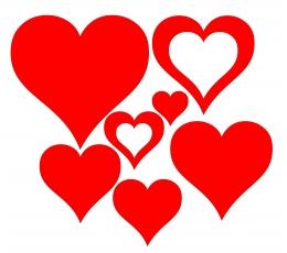 """Dekoracijos """"Širdelės"""" / MIX (7 vnt.)"""