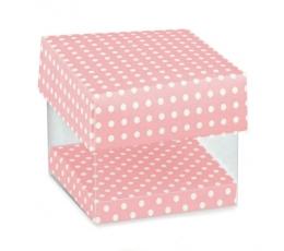 """Dėžutė """"Taškeliai"""" rožinė / skaidri (1 vnt.)"""