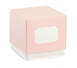 Dėžutė , rausva dryžuota (70x70x70 mm)