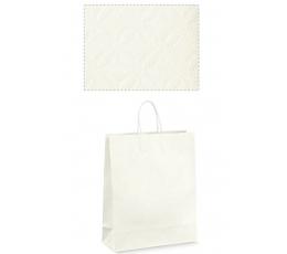 Dovanų maišelis / baltas su ornamentais (1 vnt./270x110x350 mm.)