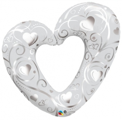 "Folinis balionas ""Balta širdis"" (107 cm.)"