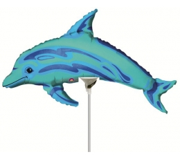 "Folinis balionas ant pagaliuko ""Delfinas"" (15x35 cm)"
