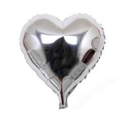 """Mini folinis balionas """"Sidabrinė širdelė"""" (13x12 cm)"""
