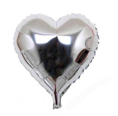 """Folinis balionas ant pagaliuko """"Sidabrinė širdelė"""" (23 cm)"""