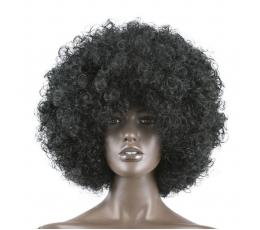 Garbanotas perukas / juodas