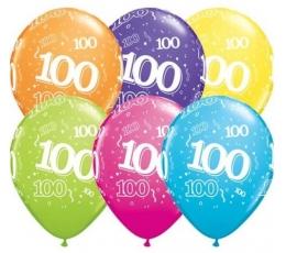 """Balionai """"100"""", įvairiaspalviai (6 vnt./28 cm)"""