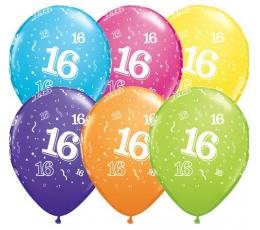 """Gum. bal. įvairiaspalvis skaičius """"16"""" (6 vnt./27.94 cm)"""