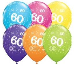 """Balionais """"60"""", įvairiaspalviai (6 vnt./28 cm)"""