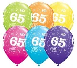 """Gum. bal. įvairiaspalvis skaičius """"65"""" (6 vnt./27.94 cm)"""