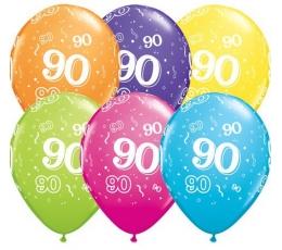 """Balionai """"90"""",  įvairiaspalviai (6 vnt./28 cm)"""
