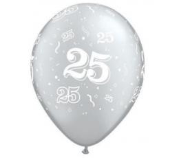 """Balionai """"25"""" , sidabriniai (10 vnt./28 cm. Q11)"""
