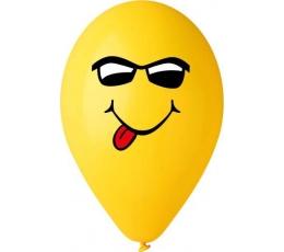 """Balionai """"Šypsenėlė su akinukais"""", geltoni (1 vnt /28cm.)"""
