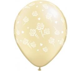 """Balionai """"Baltos rožytės"""" / šampaniniai (25 vnt./28cm.)"""