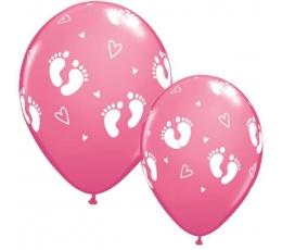 """Guminiai balionai """"Pėdutės/rožinės"""" (25vnt./28cm.)"""