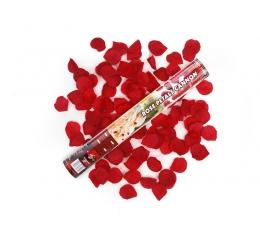 Konfeti patranka raudoni rožių žiedlap (40cm./1 vnt.)
