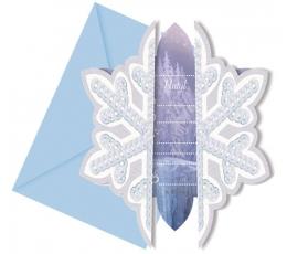 """Kvietimai """"Frozen Ice"""" (6 vnt./11 cm. x 12.5 cm.)"""