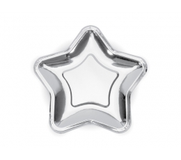 """Lėkštutės """"Sidabrinės žvaigždės"""" (6 vnt./23 cm.)"""