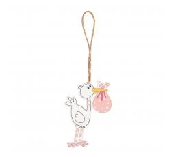 """Medinės dekoracijos """"Gandrai"""" / rožiniai (6 vnt./3.6 cm. x 5.5 cm.)"""