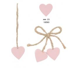 """Medinės dekoracijos """"Širdelės"""" / rožinės (10 vnt./2.2 cm. x 1.9 cm)"""