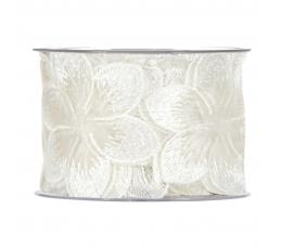 """Medžiaginė juostelė """"Baltos gėlės"""" (5m./60 mm.)"""