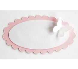 Palinkėjimų kortelės, rožinės su baltais drugeliais (4 vnt.)