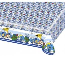 """Plastikinė staltiesė """"Smurfai""""/mėlyna (1.20 m. x 1.80 m)"""