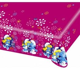 """Plastikinė staltiesė """"Smurfai""""/rožinė (1.20 m. x 1.80 m)"""
