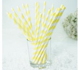 Pop.šiaudeliai/geltoni - balti dryžel. (25 vnt./19.5 cm)
