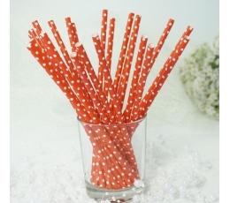 Pop.šiaudeliai/raudoni su baltais tašk. (25 vnt./19.5 cm)