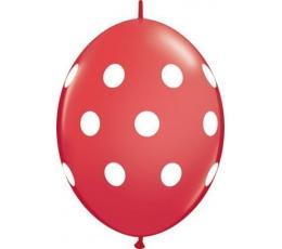 Dekoravimo balionai / raudoni su baltais taškiukais (50 vnt./Q12)
