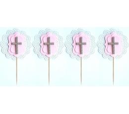 """Smeigtukai užkandžiams """"Kryželis"""", rožiniai (4 vnt./10.5 cm.)"""