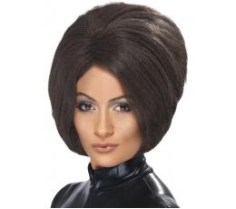 Trumpas tamsiai rudų plaukų perukas