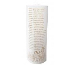 Vestuvių metinių žvakė/cilindras (7 x 20 cm.)