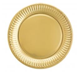 Vienkartinės lėkštutės / auksinės (6 vnt./18 cm.)