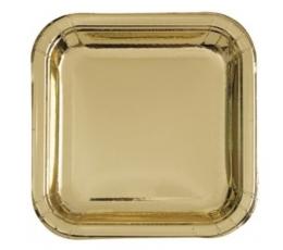 Vienkartinės lėkštutės auksinės/kvad. (8vnt./17.4 cm.)