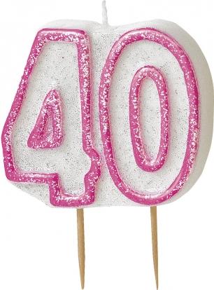 """Žvakutė """"40"""" rožinė (1 vnt.)"""