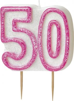 """Žvakutė """"50"""" rožinė (1 vnt.)"""