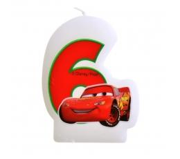 """Žvakutė skaičius/Mašinėlė """" 6 """" (1 vnt.)"""