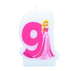 """Žvakutė skaičius/Princesė """" 9 """" (1 vnt)"""