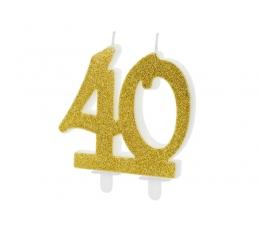 """Žvakutė - skaičius """"40"""" auksinė (1 vnt.)"""