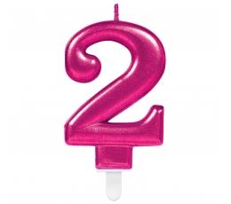 """Žvakutės """"Skaičius """"2""""/ ryškiai rožinė (1 vnt.)"""