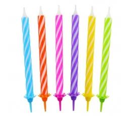 Žvakutės tortui / įvairiaspalvės (12 vnt./8 cm.)