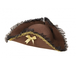 Pirato kepurė suaugusiems, ruda puošni