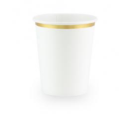 Puodeliai, balti aukso krašteliu (6 vnt./260 ml)