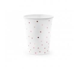 Puodeliai, balti su rožinio aukso taškeliais (6 vnt./260 ml)