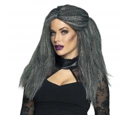 Raganos perukas, pilkas garbanotas
