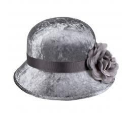 Retro skrybėlė su gėle, pilka