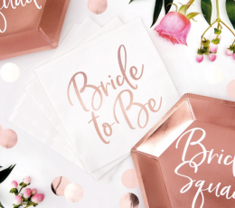 """Servetėlės """"Bride to be"""", baltos-rožinio aukso (20 vnt.) 2"""